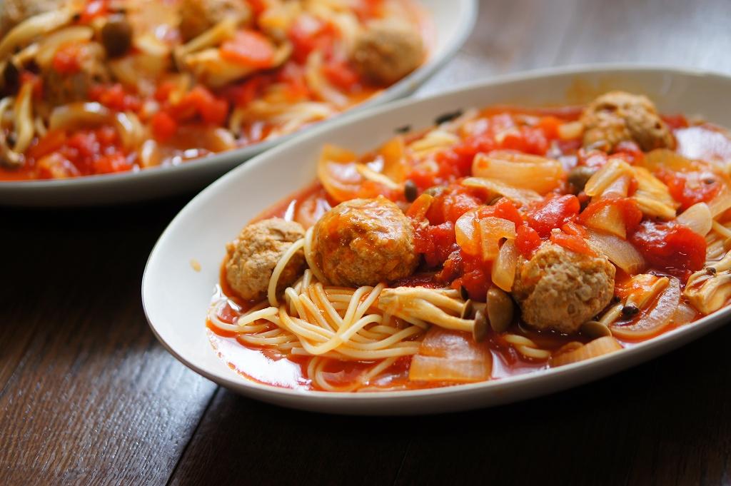豚肉のポルペッタのトマトスープパスタ