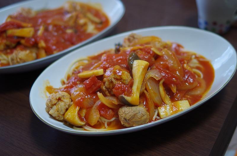 再び豚肉のポルペッタのトマトパスタ
